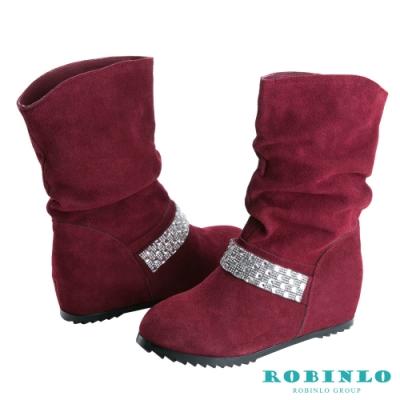 Robinlo 進口牛絨內增高造型貼鑽中靴 酒紅色