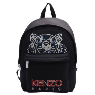 KENZO 經典字母LOGO老虎刺繡圖騰尼龍後背包(黑)