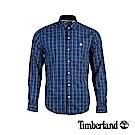 Timberland 男款深寶石藍修身格紋彈力長袖襯衫|A1WPG