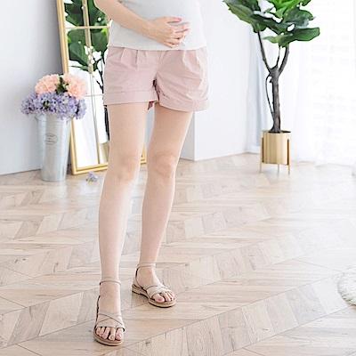 高含棉純色抓皺反摺孕婦短褲-OB大尺碼