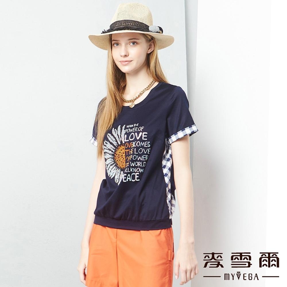 MYVEGA麥雪爾 絲光棉向日葵拼接格紋造型上衣-深藍