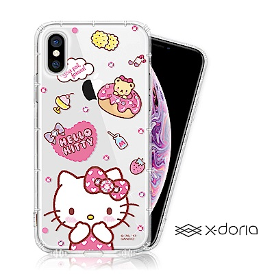Hello Kitty iPhone Xs Max 彩繪空壓手機鑽殼 - 甜甜圈