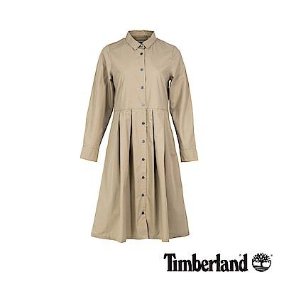 Timberland 女款卡其色鈕扣長襯衫連衣裙|B3406
