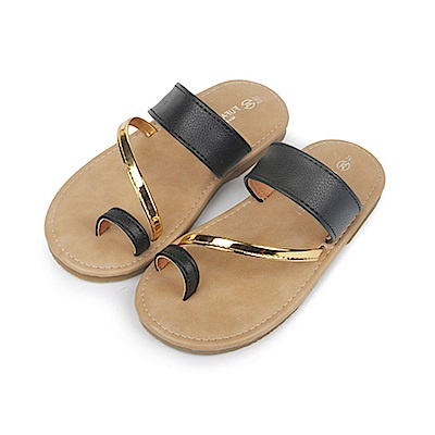 BuyGlasses 簡約夏日時尚感兒童拖鞋-黑