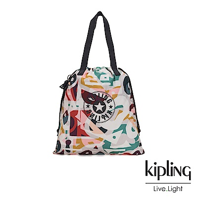 Kipling 音樂派對幾何塗鴉束口抽繩手提袋-NEW HIPHURRAY
