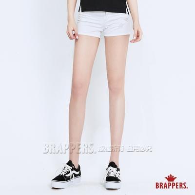 BRAPPERS 女款 Boy friend系列-彈性割破短褲-白