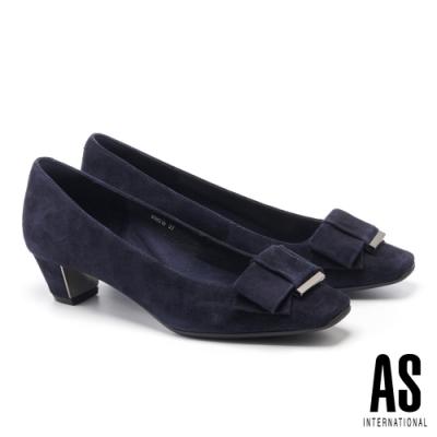 低跟鞋 AS 沉穩內斂蝴蝶結釦羊麂皮方頭粗低跟鞋-藍
