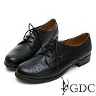 GDC-真皮質感擦色雕花綁帶素色牛津鞋-黑色
