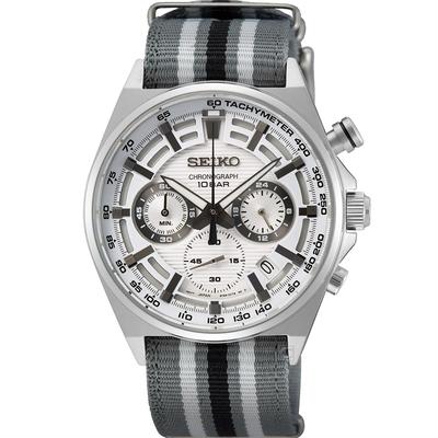 SEIKO精工 CS 競速三眼計時腕錶 8T63-00T0U(SSB401P1)-31mm