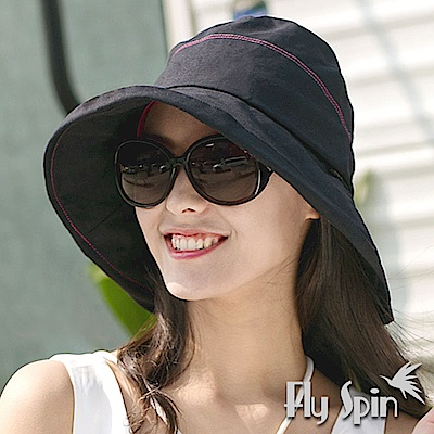 FLYSPIN 女款抗紫外線UV亞麻棉遮陽高頂漁夫帽