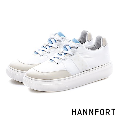 HANNFORT CAMPUS PLATFORM  尼龍蓬鬆厚底休閒鞋-女-白