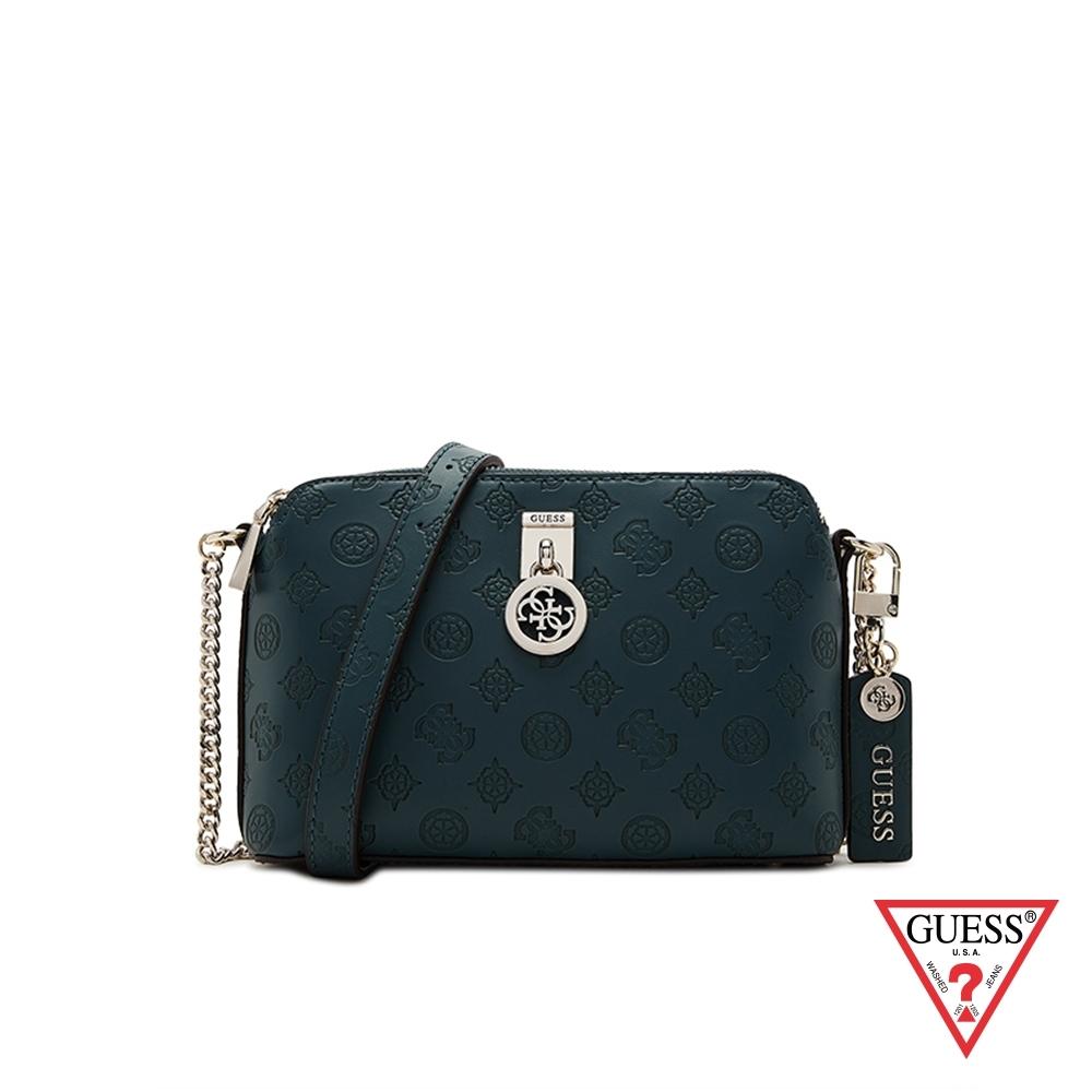 GUESS-女包-滿版LOGO壓印多夾層肩背包-墨綠 原價2890