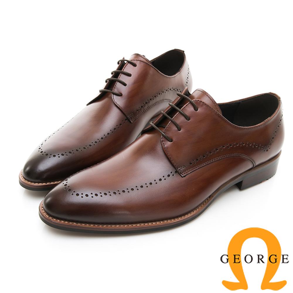 【Amber】商務時尚 圓頭立體楦頭紳士皮鞋-咖啡色