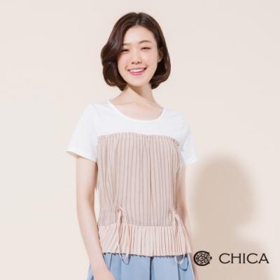 CHICA 清新條紋拼接配色短袖上衣(2色)