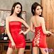 Sexy Cynthia 角色扮演 火紅平口洋裝綁繩美背辣妹角色扮演服二件組-紅F product thumbnail 1