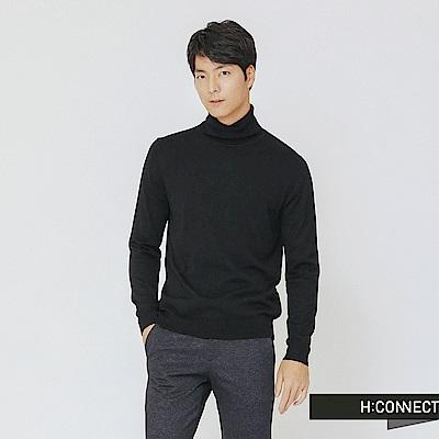 H:CONNECT 韓國品牌 男裝-純色高領針織上衣-黑