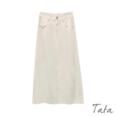 棉麻前開岔半身裙 TATA-F