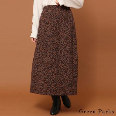 Green Parks 時尚豹紋A字長裙