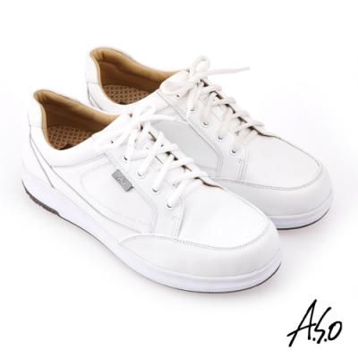 A.S.O 挺力氣墊 真皮縫線綁帶休閒鞋-白
