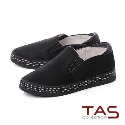 TAS異材質拼接水鑽厚底懶人休閒鞋-百搭黑