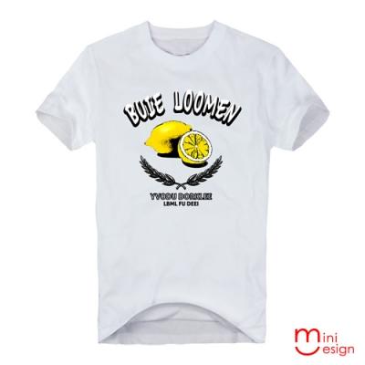(男款)復古檸檬樂插畫潮流設計短T 三色-Minidesign