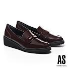 高跟鞋 AS 復古知性金屬釦牛皮樂福楔型高跟鞋-紅