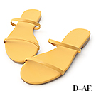 D+AF 清涼夏日.二條細帶平底涼拖鞋*黃