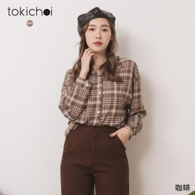 東京著衣 高校生女孩暖色細格紋雪紡襯衫