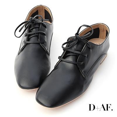 D+AF 紳士品格.超軟皮方頭綁帶牛津鞋*黑