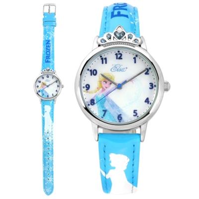 Disney 迪士尼 冰雪奇緣 Elsa 皇冠藍鑽造型 兒童卡通皮革手錶-藍色/30mm