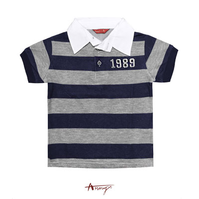 Annys1989休閒翻領排釦寬條紋短袖上衣*0362藍