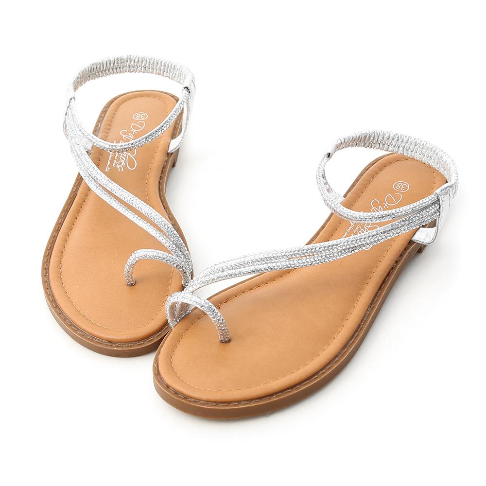 D+AF 光感魅力.燙鑽細帶套指平底涼鞋*銀