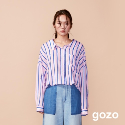 gozo 正反二穿落肩配色條紋襯衫(粉紅)