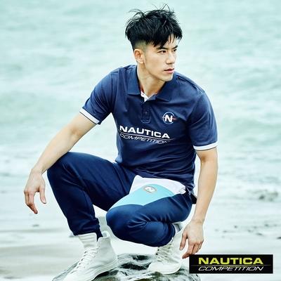 Nautica COMPETITION男裝簡約LOGO舒適短袖POLO衫-藍