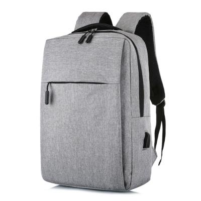 【KISSDIAMOND】耐刮減震USB充電雙肩背包(後背/筆電/商務/旅行/出差/淺灰)