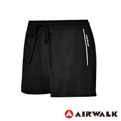 【AIRWALK】彈性慢跑短褲-女-黑