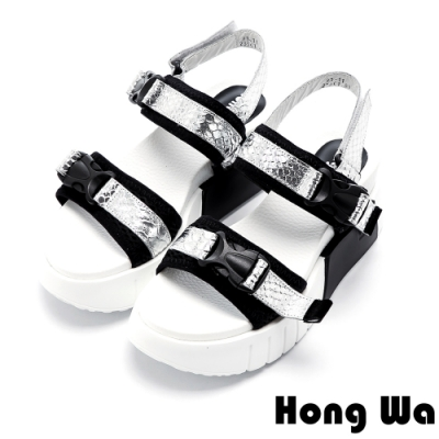 Hong Wa 撞色拼接牛皮快扣厚底涼鞋 -銀白