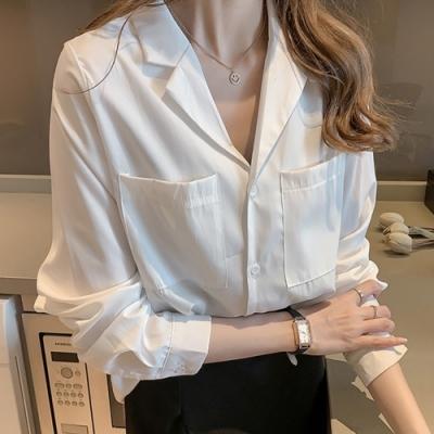 初色  寬鬆翻領長袖襯衫-共2色-(M-2XL可選)