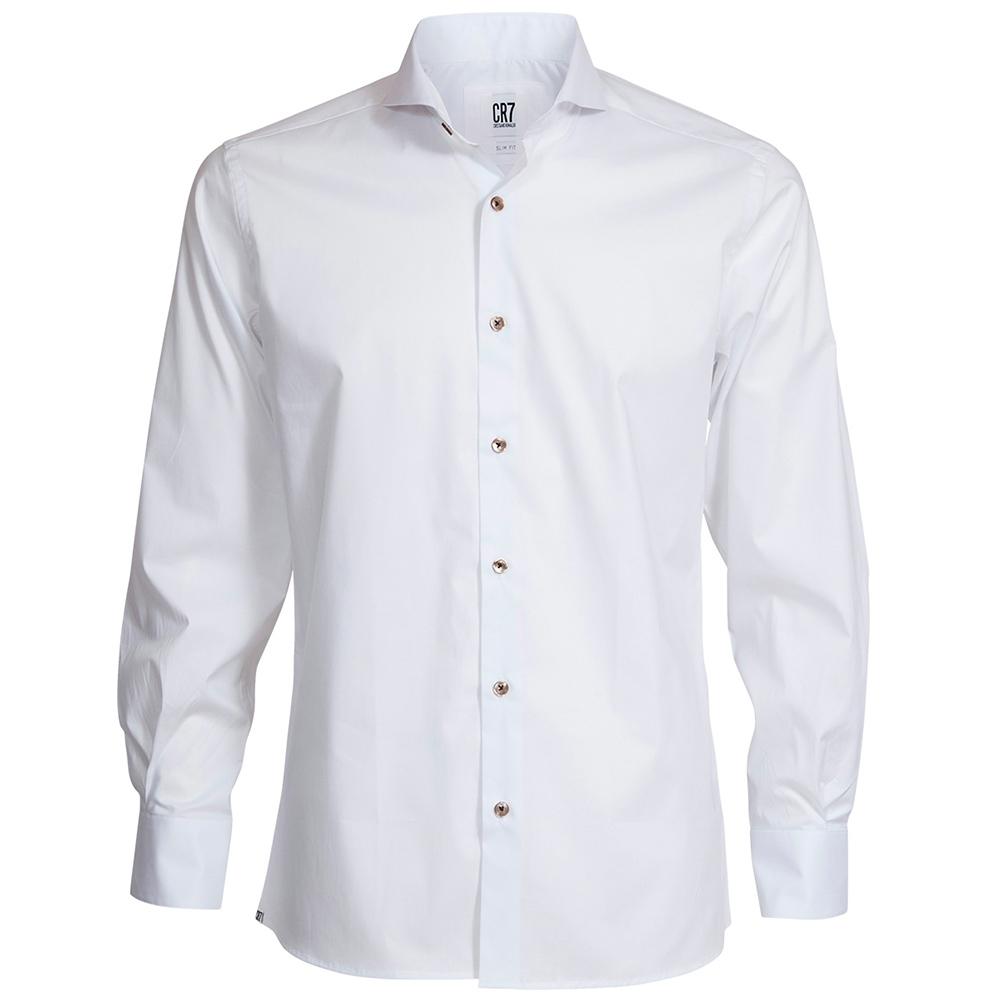 CR7-Slim Fit 寬角領素色修身版襯衫-白 (8683-727-1)