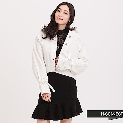 H:CONNECT韓國品牌女裝綁帶短版牛仔外套-白快