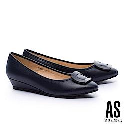 低跟鞋 AS 典雅質感方釦羊皮楔型低跟鞋-藍