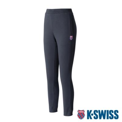 K-SWISS Slim Fit Knit Pants棉質九分褲-女-黑