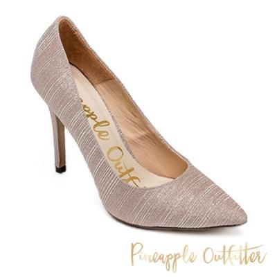 Pineapple Outfitter 閃爍質感紋面高跟鞋-銀粉色