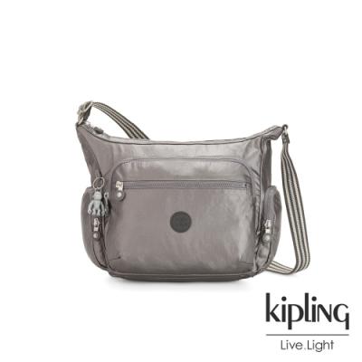 Kipling 低調質感金屬灰褐色多袋實用側背包-GABBIE