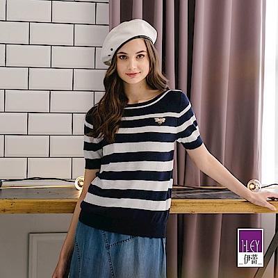 ILEY伊蕾 織蔥條紋帆船領針織上衣(可/藍)