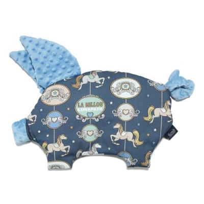 La Millou 豆豆小豬枕-旋轉小木馬(藍底)-蒙地卡羅藍