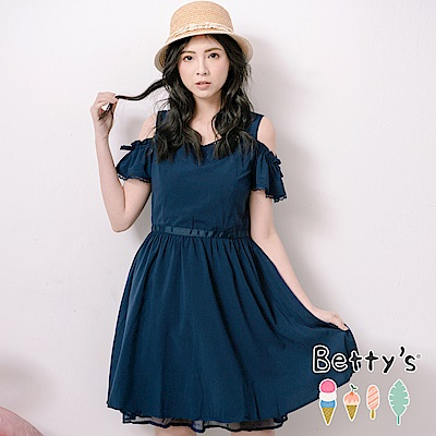 betty's貝蒂思 柔美露肩領口縫珠洋裝(深藍)