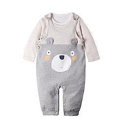baby童衣 條紋上衣+小熊造型吊帶褲 套裝 50819