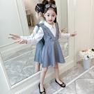 小衣衫童裝 中大女童白色襯長袖衫拼接V領格子裙洋裝1080941