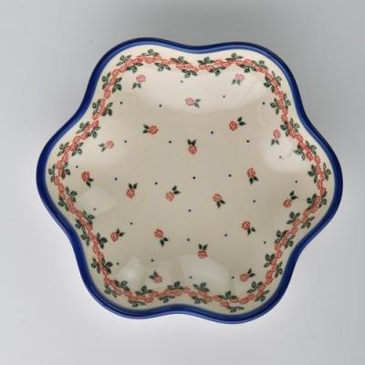 波蘭陶 玫瑰花圈系列 花型盤 大 24cm 波蘭手工製